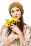 Adorable Young Woman with Yellow Flowers Stock Image