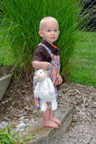 An adorableToddler boy stands with a stuffed lamb in a green garden Royalty Free Stock Photography