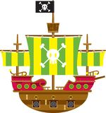 Cartoon Pirate Galleon Side View. Adorably Cute Cartoon Pirate Ship with Skull and Crossbones Illustration by Mark Murphy Creative royalty free illustration