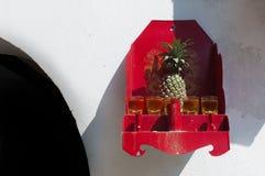 Adoración de la piña en un estante de Buda Foto de archivo