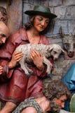 Adoración de los pastores, escena de la natividad Foto de archivo