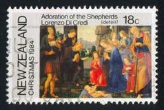Adoración de los pastores de Lorenzo di Credi Fotografía de archivo libre de regalías