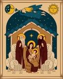 Adoracja magi święta bożego narodzenia jezusa sceny ilustracyjny wektora ilustracji