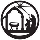 Adoracja Magi sylwetki ikony ilustraci czerń royalty ilustracja