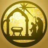 Adoracja Magi sylwetki ikony ilustraci czerń ilustracja wektor