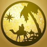 Adoracja Magi sylwetki ikony ilustracja na golu royalty ilustracja