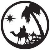Adoracja Magi sylwetki ikony ilustracja na whi royalty ilustracja