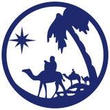 Adoracja Magi sylwetki ikony ilustracyjny błękit o ilustracja wektor
