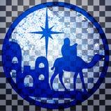 Adoracja Magi sylwetki ikony ilustracyjny błękit o royalty ilustracja