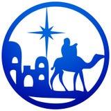 Adoracja Magi sylwetki ikony ilustracyjny błękit o ilustracji
