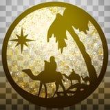 Adoracja Magi sylwetki ikony ilustracyjny złoto o ilustracja wektor