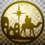 Adoracja Magi sylwetki ikony ilustracyjny złoto o royalty ilustracja