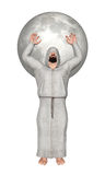 Adorador cego que reza com Hood Covering Eyes Illustration Imagem de Stock