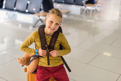 Adoralbe little boy at airport Stock Images