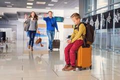 Adoralbe little boy at airport Stock Photos