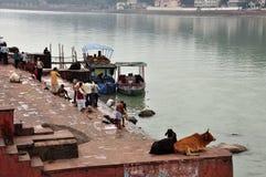 Adorando por el río Ganges en Rishikesh, la India Imagenes de archivo