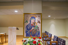 Adoration chapel, cross stitch of Mother of Perpetual Help at Sacred Heart Church Seattle Washington royalty free stock photo