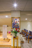 Adoration chapel, cross stitch of Mother of Perpetual Help at Sacred Heart Church Seattle Washington  Stock Image