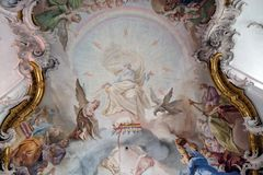 The Adoration of the Lamb. Fresco by Matthaus Gunther in Benedictine monastery church in Amorbach, Germany Stock Images