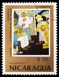 Adoration of the Magi, L. Saenz detail, Christmas 1987 serie, circa 1987. MOSCOW, RUSSIA - FEBRUARY 21, 2019: A stamp printed in Nicaragua shows `Adoration of stock photography