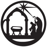 Adoration of the Magi silhouette icon  illustration black. On white background. Scene of the Holy Bible Royalty Free Stock Photo