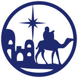 Adoration of the Magi silhouette icon  illustration blue o Royalty Free Stock Image