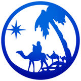 Adoration of the Magi silhouette icon  illustration blue o Stock Image