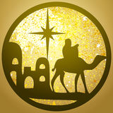 Adoration of the Magi silhouette icon  illustration on gol Stock Photography