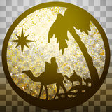 Adoration of the Magi silhouette icon  illustration gold o Royalty Free Stock Photos