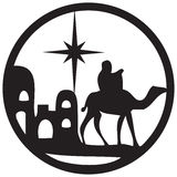 Adoration of the Magi silhouette icon  illustration on whi Royalty Free Stock Photography
