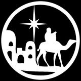 Adoration of the Magi silhouette icon  illustration white. On black background. Scene of the Holy Bible Stock Images