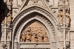 Adoration of the Three Wise Men Relief. Relief from 1520 depicting the Adoration of the Magi (Three Wise Men, Three Kings) by Miquel Florentin on a tympanum of Stock Photos