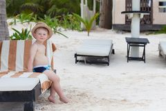 Adorbale toddler boy on a tropical beach Royalty Free Stock Photography