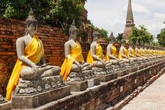 Adore a Buda en el kon ayutthaya del mong de yai chai del wat de la pagoda Imágenes de archivo libres de regalías