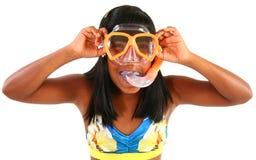 Adorible muchacha de 10 años con el tubo respirador Foto de archivo