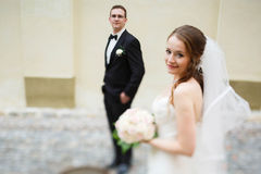 Adoring happy cute groom and bride Stock Images