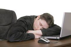 Adormecido no computador Foto de Stock Royalty Free