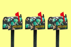 3 adornó Mailboxs Fotos de archivo libres de regalías