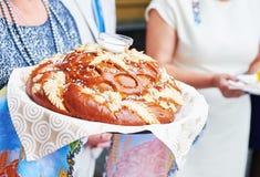 Adornado alrededor del pan de la boda del pan Foto de archivo