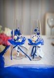 Adornado casandose los vidrios en estilo azul Foto de archivo libre de regalías