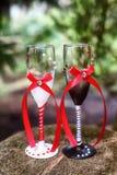 Adornado casandose los vidrios para la novia y el novio concepto de la boda Foto de archivo libre de regalías