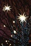 Adornado con las linternas y las guirnaldas en los árboles Foto de archivo libre de regalías