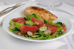 Adornado con las verduras con el escalope del pollo Imagen de archivo libre de regalías