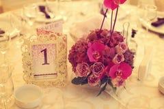 Adornado maravillosamente casandose la tabla Fotografía de archivo libre de regalías