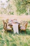 Adornado maravillosamente casandose la tabla con la fruta, las velas y las flores Se coloca en la hierba verde en el campo solead Fotos de archivo libres de regalías