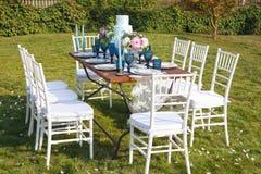 Adornado para casarse la tabla de cena elegante Imagenes de archivo