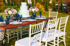 Adornado para casarse la tabla de cena elegante Fotografía de archivo