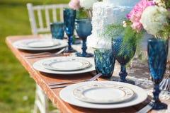 Adornado para casarse la tabla de cena elegante Fotos de archivo