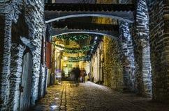 Adornado para la calle de la Navidad en Tallinn Imagen de archivo