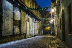 Adornado para la calle de la Navidad en Tallinn Imagenes de archivo